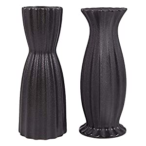 Silk Flower Arrangements AUUM Flower Vase Set of 2, Black Floral Vases for Decor 8 Inch Ceramic Vase Idea Gift Vase for Table, Centerpieces, Living Room, Office