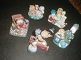 5 Danbury Mint Garfield Figurines (1984)- 'Midnight Serenade', 'Love in Bloom', 'Return to Sender', 'The Gourmet' and 'Crowning Achievement'