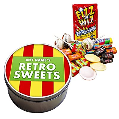 Personalised Retro Sweets Metal Tin filled with sweets. Add any name.