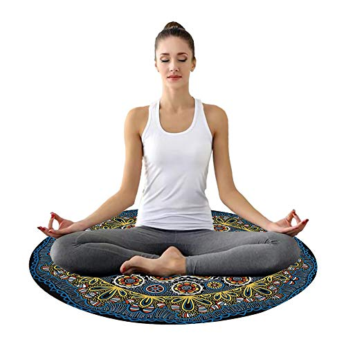 Yoga Mat Thick Esterilla de pequeña esterilla de meditación manta de playa redondo hippie/mandala bohemia mantel decoración/de alfombra de picnic/neutral/Alfombrilla Gimnasio para Ejercicio en Casa