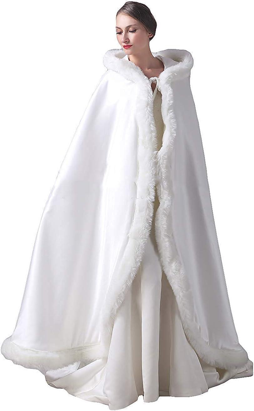 Michealboy Hooded Wedding Bridal Robes Satin Faux Fur Winter Warm Shawl Capes