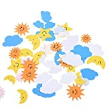 BCP The Blue Sky, The Sun, The Moon Shapes Self-Adhesive Foam Stickers for Craft Art Project