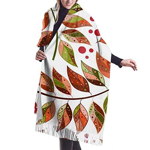 GYTHJ Bunte Herbstblätter und Beeren auf einem transparenten Hintergrund Imitieren Kaschmir Gefühl Winterschal Pashmina Schal Wraps Weiche warme Decke Schals Elegante Wickel für Frauen