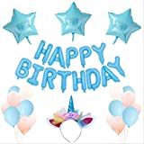 Niños Feliz Cumpleaños Carta Globo Set Decoración De Fiesta Globos De Película De Aluminio Paquete azul