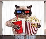 chinawh Cortinas Opacas Palomitas De Maíz Gato Película Teatro 220X215Cm Ojales Dibujos Animados Cortinas Aislantes Tratamiento De Ventanas Cortina Opaca De Oscurecimiento 3D Para Dormitorio Sala De E