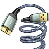 2-Pack (3.3FT+6.6FT) USB 3.0 A Male to Micro B Cable s5 Fast Charger, AINOPE External Hard Drive Cable Compatible with Note 3, WD Camera, Seagate Hard Drive and More