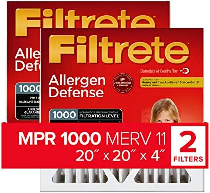 Filtrete 20x20x4 AC Furnace Air Filter MPR 1000 DP Micro Allergen Defense Deep Pleat 2 Pack product image