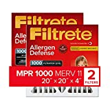 Filtrete 20x20x4, AC Furnace Air Filter, MPR 1000 DP, Micro Allergen Defense Deep Pleat, 2-Pack (exact dimensions 19.88 x 19.88 x 4.2)