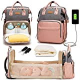3 in 1 Diaper Bag Backpack with Changing Station, Diaper Bags for Baby Girls Boys, Baby Shower Gifts, Newborn Essentials Must Haves, Multi-Function Travel Mommy Bag Grey-Pink