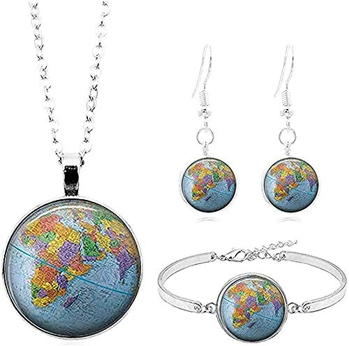 YOUZYHG co.,ltd Collar Vintage Earth Map Art po cabochon Glass Jewelry Collar de Plata Pulsera Earring Jewelry s for Women Gifts Necklace Length 50cm