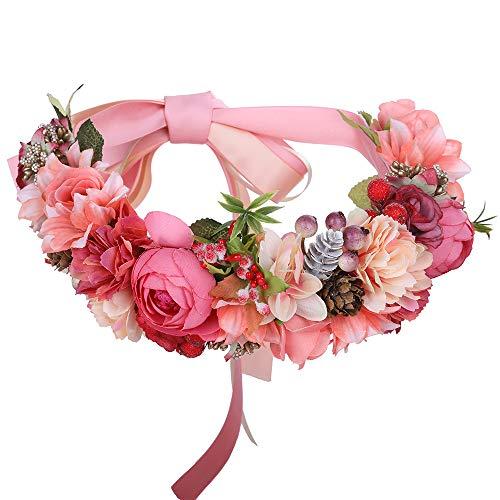 AWAYTR mujeres niñas Boho flor corona diadema floral corona guirnalda (Rosa - banda larga)