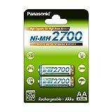 Panasonic High Capacity, Akku Ni-MH 2700, AA Mignon, 2er Pack, min. 2.500 mAh, Hochkapazitäts-Akku mit extrastarker Leistung