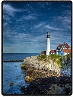 Custom beautiful lighthouse by the seaside art Super Soft Warm Fleece Throw Blanket 58