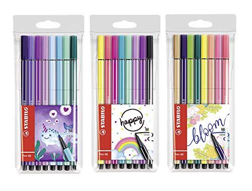 STABILO Pen 68 Living Colors Filzstifte, mittlere Spitze (24 Stifte)