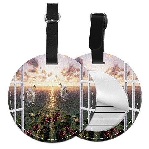 Etichette per Bagagli, Viaggio Bagagli Tag In Pelle Pu Con Copertina Posteriore per La Borsa Da Viaggio, Open Window Sea View Swan