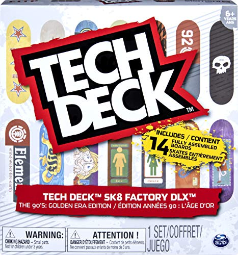 Tech Deck, Sk8 Factory DLX 14 Pack Fingerboards, Golden Era 90's Edition