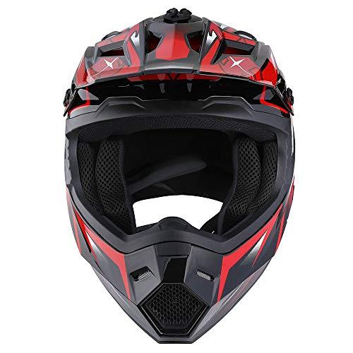 Product Image 5: 1Storm Motocross Adult Helmet BMX MX ATV Dirt Bike Helmet Racing Red + Goggles + Skeleton Red Glove Bundle