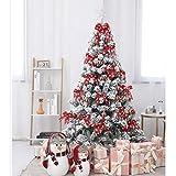 WEHOLY Árbol De Navidad Artificial Slim, Pino Verde Natural Cubierto De Nieve, PVC, con Piñas Naturales, Soporte De Madera Fácil De Instalar,210cm