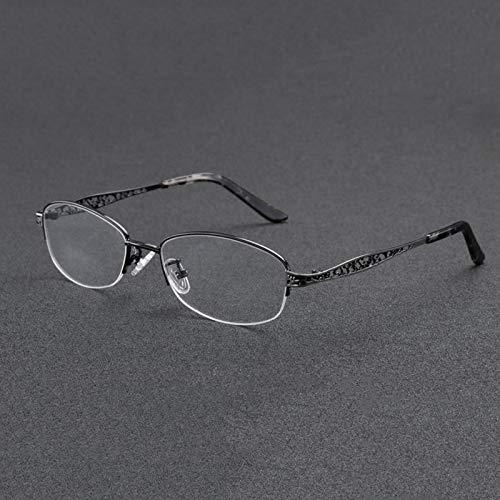 RXBFD Half Rim Metal Photochromic Progressive multifocal Womens Reading Glasses,Classic Vintage Oval Ultra-Light Readers