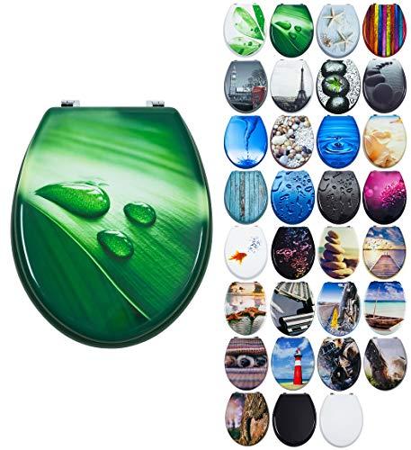 Grafner MDF WC Sitz mit Absenkautomatik viele schöne Motive zur Auswahl - stabile Qualität - einfache Montage WC Deckel Klobrille Softclose (Green Water)