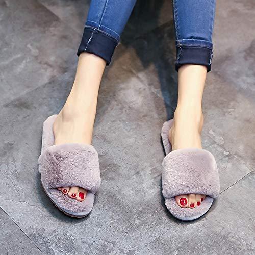 Qsy shoe Zapatillas, una Hembra de Felpa de Fondo Plano, Gris Acacia, código M 37-38