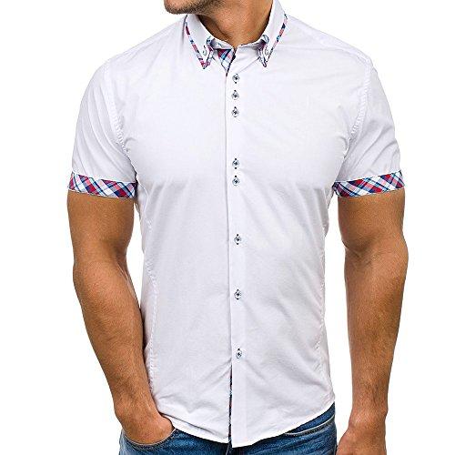Manadlian-Homme Chemisette à Manches Courtes Manadlian T-Shirt Couture à Rayures Cassique Blouse Summer Tops Été