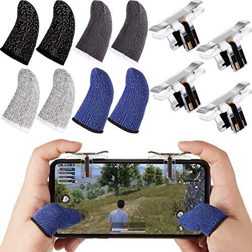 Mobile Thumb Sleeve Gaming Finger Sleeve Set beinhaltet 8 Stück atmungsaktive Touchscreen Finger Sleeve und 4 Stück L1R1 Mobile Triggers Gaming Controller für Handy Spiele