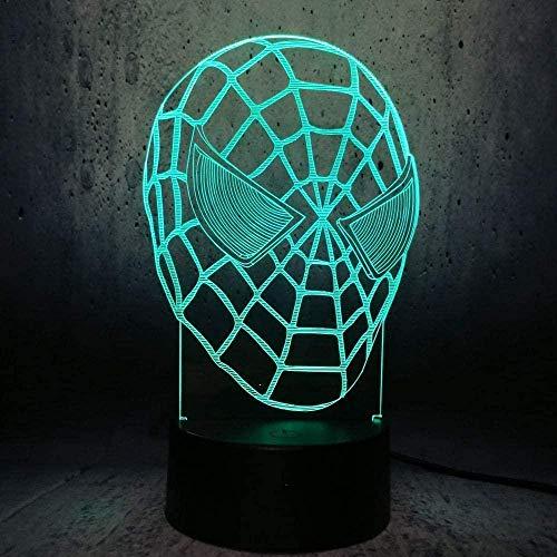 Luz nocturna Rgb, lámpara de habitación, luz nocturna, héroe creativo, cabeza de superhéroe, Control remoto, toboganes de noche para niños, regalo de Navidad