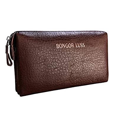 Mens Wallet Clutch Bag Vintage Leather HandBag Organizer Checkbook -Brown