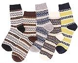 5 Pack Womens Warm Wool Socks Vintage Thick...