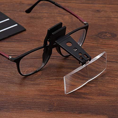 Clip-On Vergrootglas voor Bril met 3 Verwisselbare lenzen, Clip en Flip Hands-Free Vergrootlenzen Helder