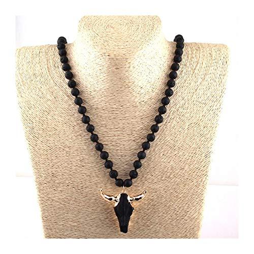 QWERBAM Fashion Bohemian Jewelry Puertas de Piedra anudadas largas 3 Color Cuerno Colgante Collar for Mujeres Étnico Collar (Length : 88cm, Main Stone Color : Black)