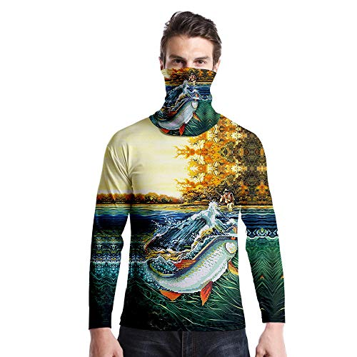 FLLLYQ Long Sleeve T-Shirt for Men,Men'S Long Sleeve Personalized Animal 3D Printing Cartoon River Angler Fish T-Shirt +Scarf Sweater Casual Loose Crewneck Tee Shirt for Outdoor Sports,5XL