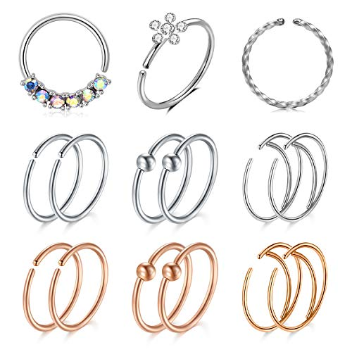 Briana Williams 5-15Pcs Surgical Steel Fake Nose Ring Septum Hoop 20G 16G Faux Clip on Rings CZ Diamond Flower Non-Pierced Nose Jewellery Silver Rosegold