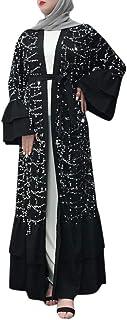 Abaya Femme Musulmane Dubai,Femmes Musulmanes Maxi Robe Robe Broderie Abaya Cardigan Ouverte Dubai Prière Ramadan Conforta...