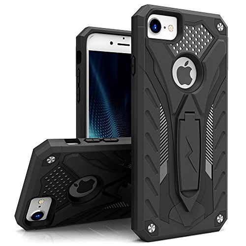 ZIZO Static Series Compatible with iPhone 8 Case Military Grade Drop Tested with Built in Kickstand iPhone 7 iPhone 6s Case Black Black