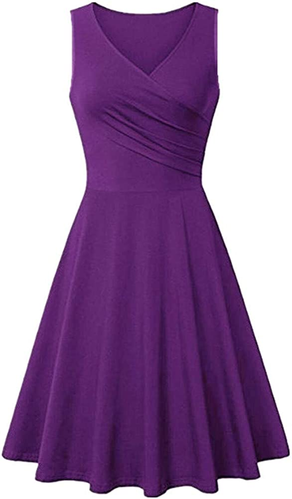 Quealent Women's Vintage Retro A-Line Pleated Sleeveless Little Cocktail Evening Party Dress for Women