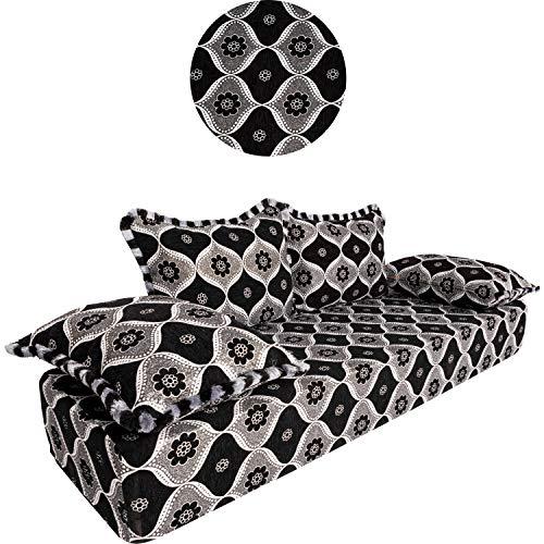 Orientalisches Sofa Couch Junus 200cm groß 3 Sitzer | Marokkanische Couchgarnitur für Wohnzimmer inklusive Sofakissen | Arabische Sitzecke kombinierbar als Ecksofa o Wohnlandschaft in L oder U Form