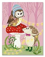 "Oopsy Daisy Fine Art for Kids Owl and Hedgehogキャンバス壁アートby Pim Pimlada 14 x 18"" NB21424"