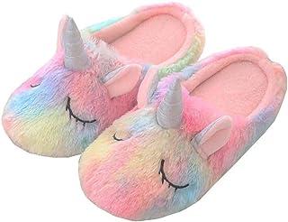 Nouvelles Pantoufles de Licorne Arc-en-Ciel pour Fille, Peluche d'hiver pour Animaux Pantoufles Rainbow Unicorn