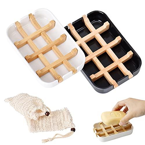 Oasis-X Seifenschale Dusche,2 STK Seifenschale Holz Dusche 2 STK Seifensäckchen,2 Stück Seifenkiste mit 2 Stück Sisal Seifensäckchen Seifenbeutel mit Kordel für Gesicht Körper