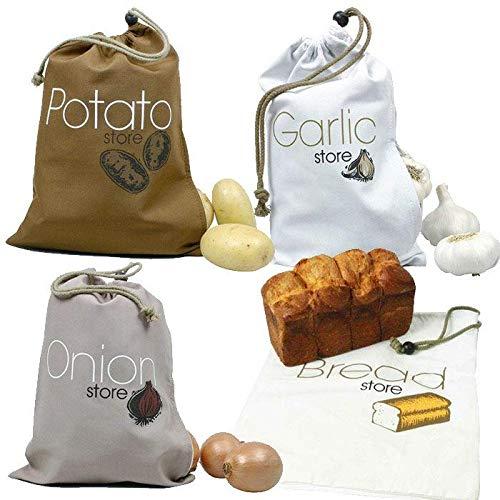 Youdoit 4 Sacchetti in Tessuto per Alimenti : Aglio, cipolle, Patate, Pane