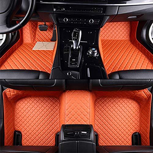 Benutzerdefinierte Leder Auto Full Coverage Teppich, Fit Für Hyund-Ai Kona 2016-2020 Luxus Fußpolster Fußmatten,Orange