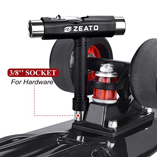Zeato All-in-One Skate Tools Multi-Function Portable Skateboard T Tool Accessory with T-Type Allen Key and L-Type Phillips Head Wrench Screwdriver - Black
