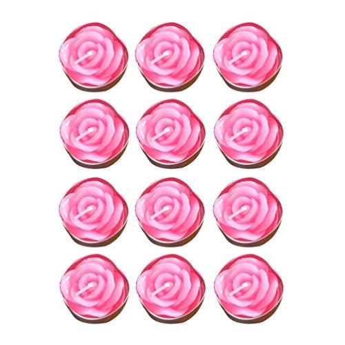 OSALADI 12 Piezas Velas de Flores Rosas 2 Horas quemables exquisitas Velas Decorativas Velas flotantes Velas de Fiesta para Bodas Baby Shower cumpleaños