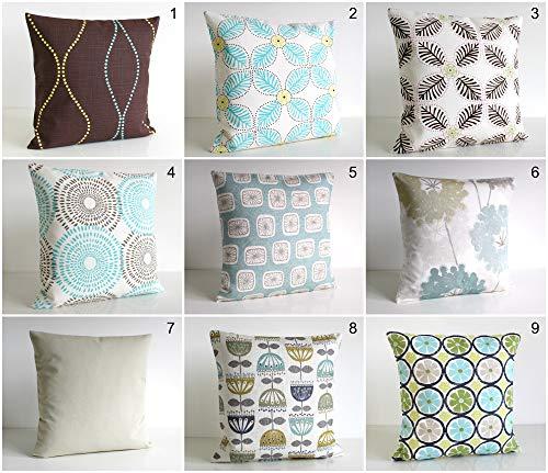 Unknown - Funda de almohada, funda de cojín, almohada decorativa, funda de cojín, funda de almohada, marrón, azul aguamarina, color blanco