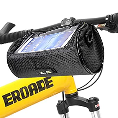 Bike Handlebar Bag Waterproof Front Bag Bicycle Storage Bag with Removable Shoulder Strap and 6 inch Transparent Pouch