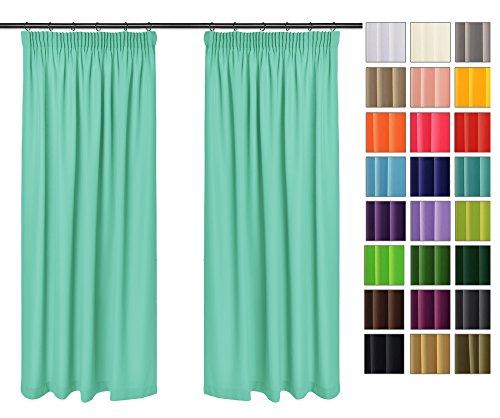 Rollmayer Vorhänge mit Bleistift Kollektion Vivid (Mint 47, 135x150 cm - BxH) Blickdicht Uni einfarbig Gardinen Schal für Schlafzimmer Kinderzimmer Wohnzimmer