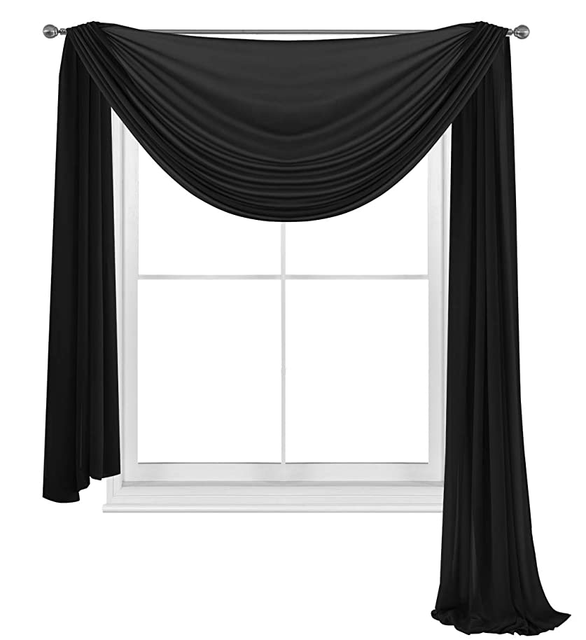 WPM WORLD PRODUCTS MART Drape/Panels/Scarves/Treatment Beautiful Sheer Voile Window Elegance Curtains Scarf for Bedroom & Kitchen Fully Stitched and Hemmed (Black, 38