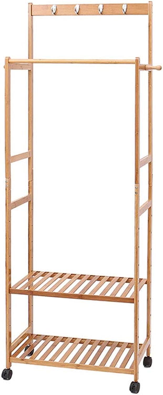 GSHWJS Simple Modern Coat Rack Bedroom Double Pole Wooden Hanger Creative Cloakroom Double Strip Floor Hanger 174x60x31cm Coat Rack